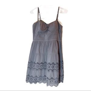 American Eagle gray eyelet strapped summer dress